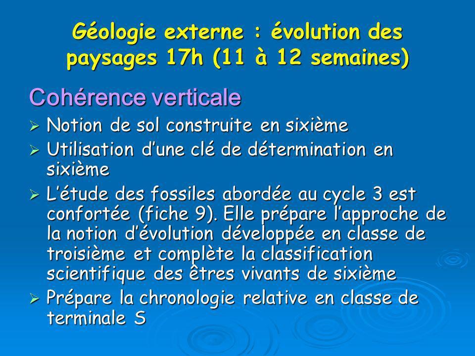 Géologie externe : évolution des paysages 17h (11 à 12 semaines)