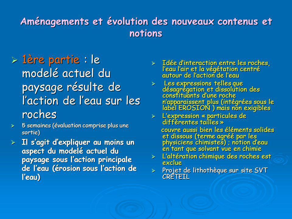 Aménagements et évolution des nouveaux contenus et notions