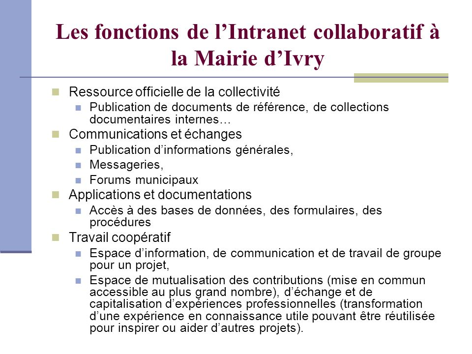 Les fonctions de l'Intranet collaboratif à la Mairie d'Ivry