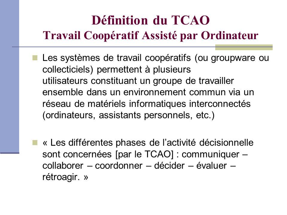 Définition du TCAO Travail Coopératif Assisté par Ordinateur