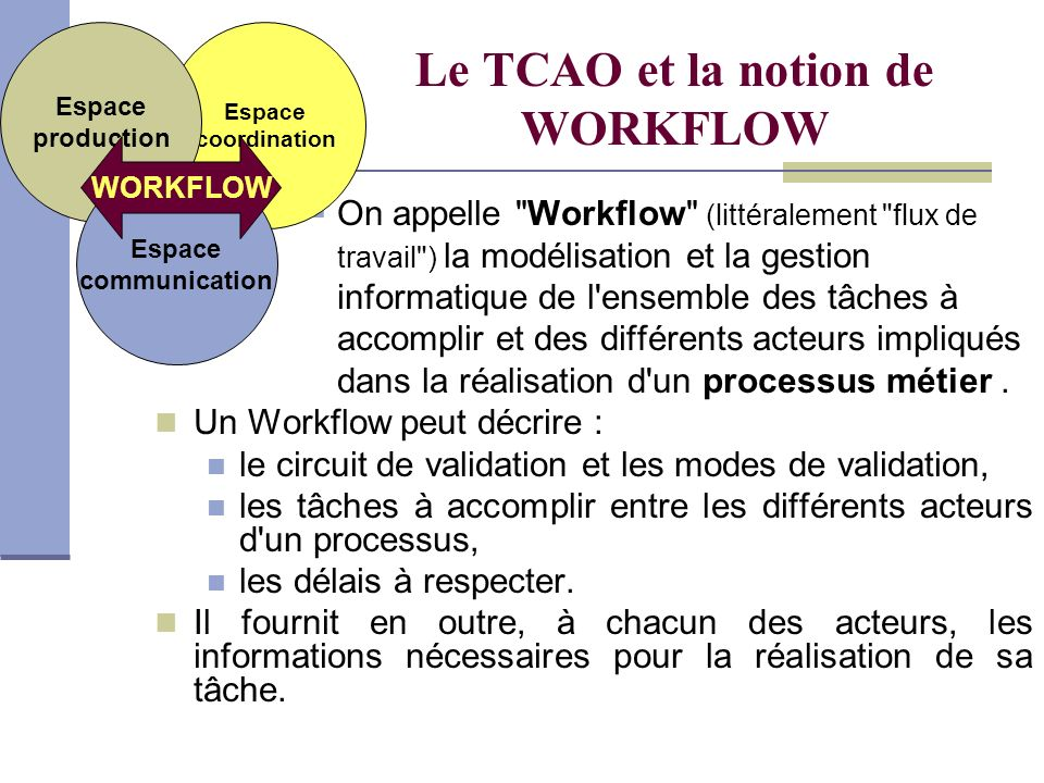 Le TCAO et la notion de WORKFLOW