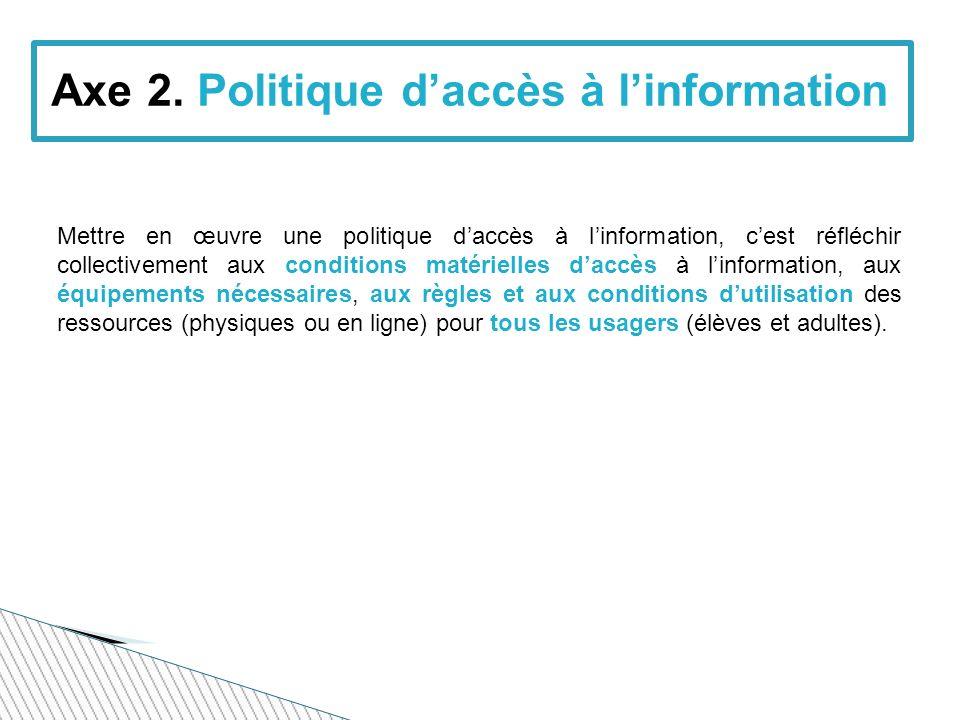 Axe 2. Politique d'accès à l'information