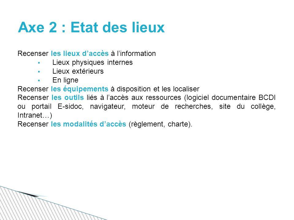 Axe 2 : Etat des lieux Recenser les lieux d'accès à l'information