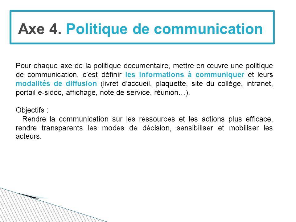 Axe 4. Politique de communication