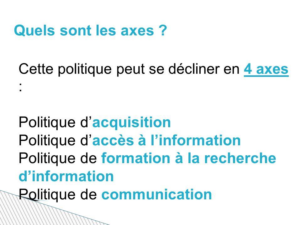 Politique d'acquisition Politique d'accès à l'information