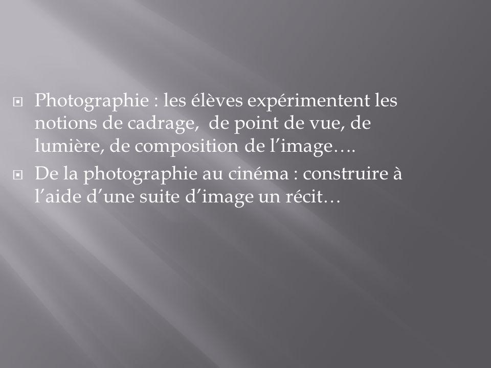 Photographie : les élèves expérimentent les notions de cadrage, de point de vue, de lumière, de composition de l'image….