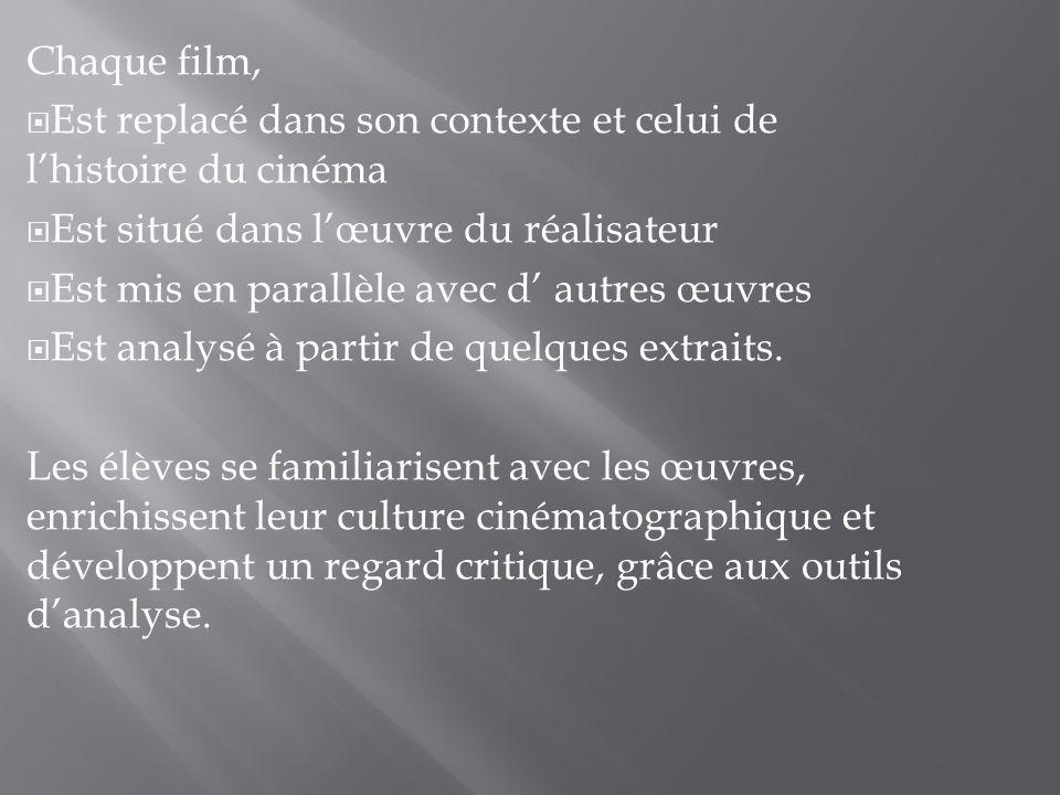 Chaque film,Est replacé dans son contexte et celui de l'histoire du cinéma. Est situé dans l'œuvre du réalisateur.