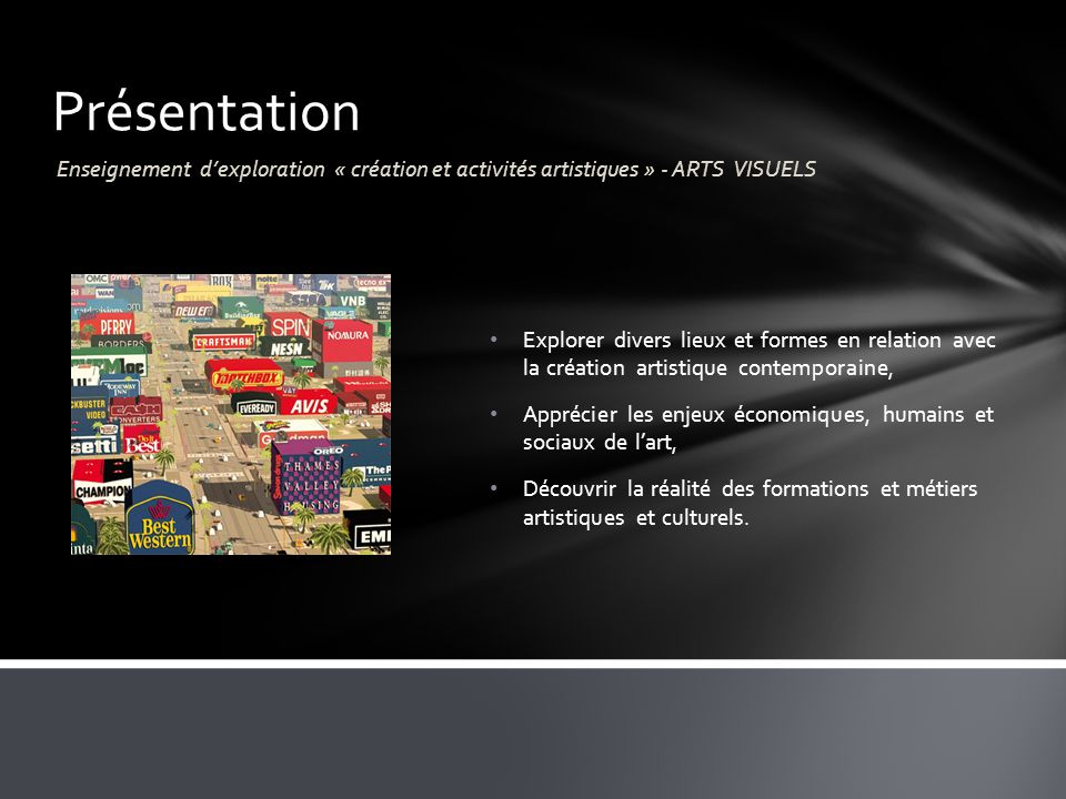 Présentation Enseignement d'exploration « création et activités artistiques » - ARTS VISUELS.
