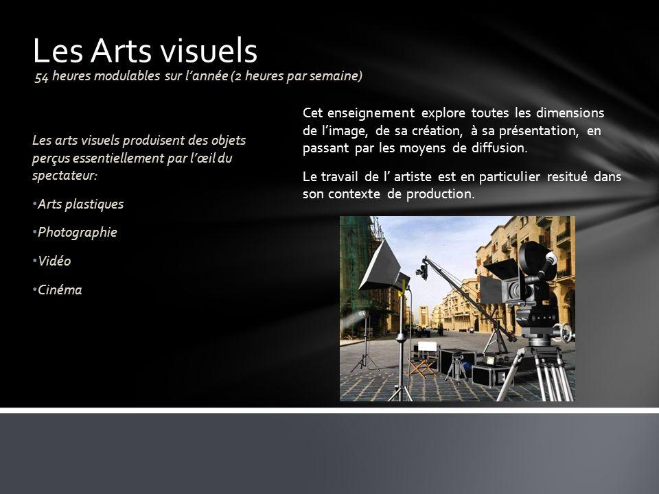 Les Arts visuels 54 heures modulables sur l'année (2 heures par semaine)
