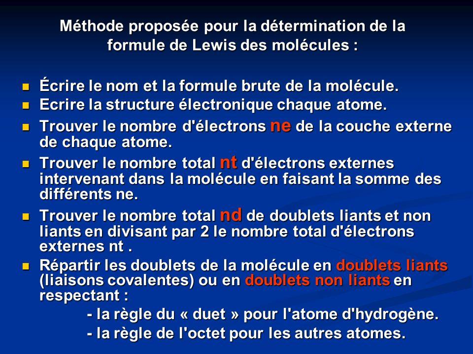 Méthode proposée pour la détermination de la formule de Lewis des molécules :