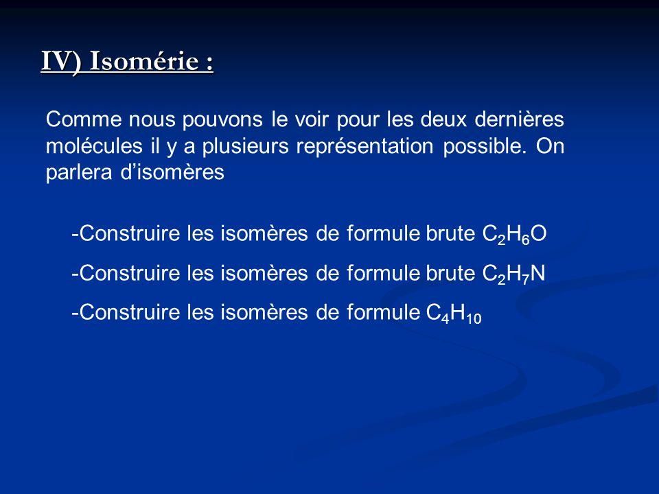 IV) Isomérie : Comme nous pouvons le voir pour les deux dernières molécules il y a plusieurs représentation possible. On parlera d'isomères.