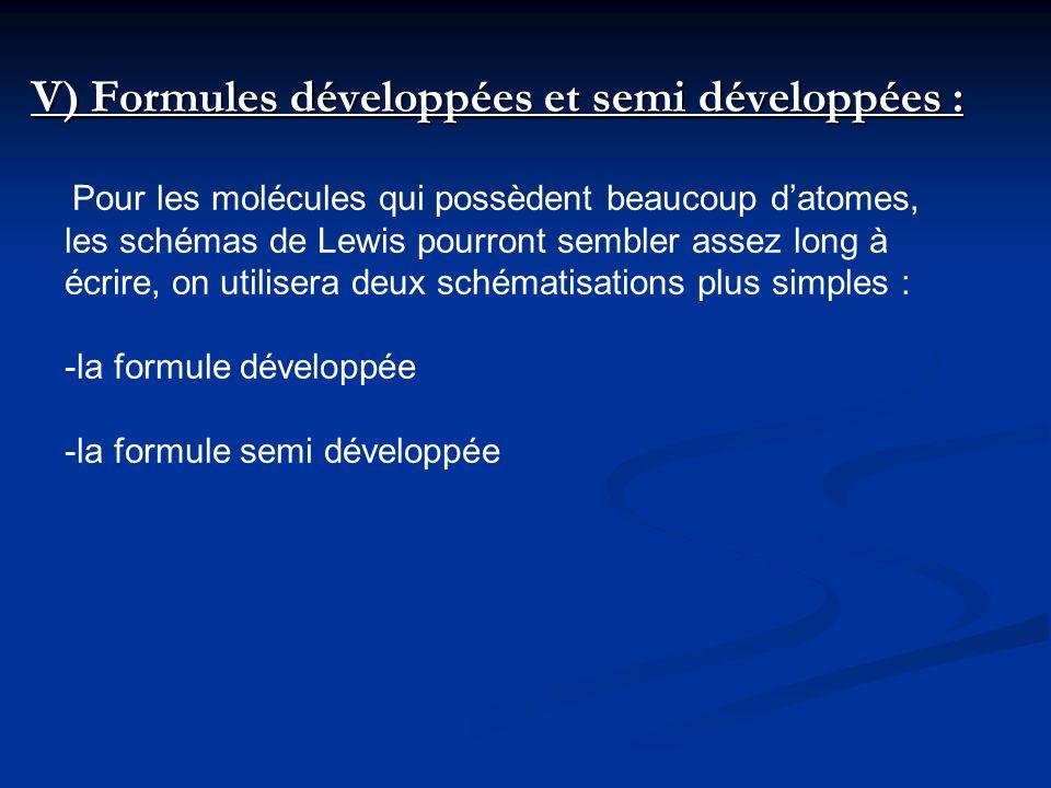 V) Formules développées et semi développées :
