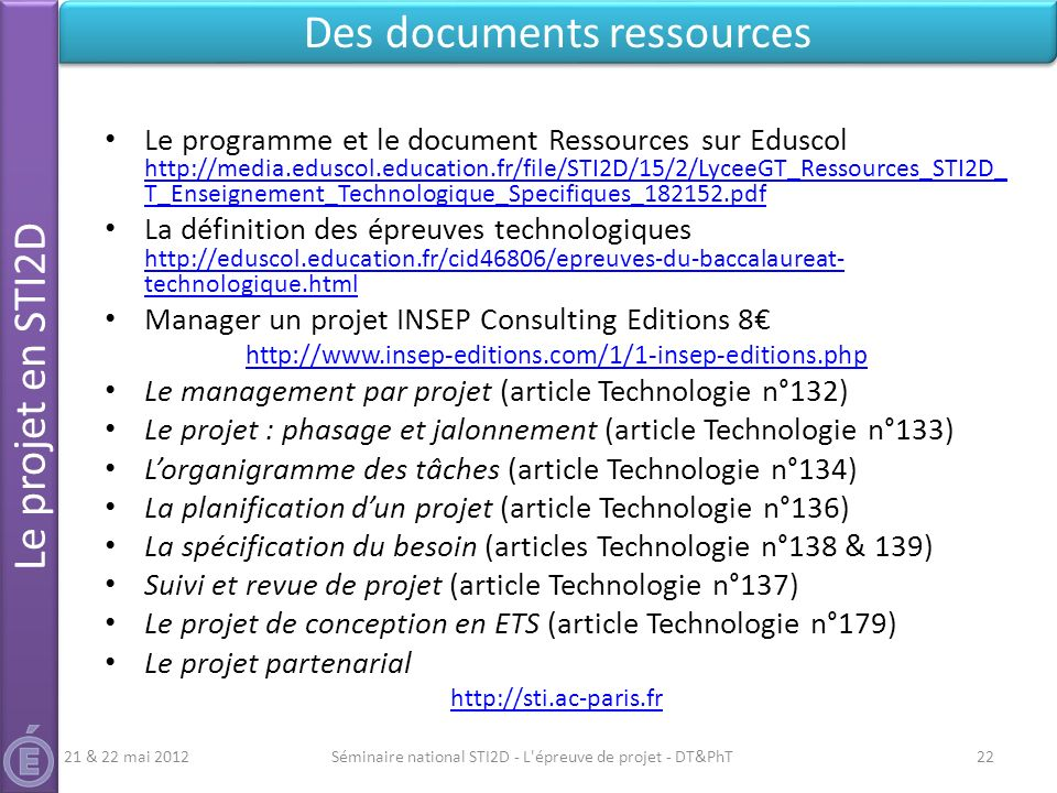 Des documents ressources