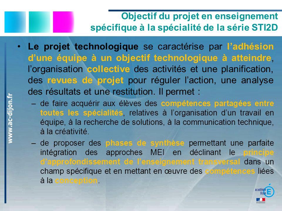 Objectif du projet en enseignement spécifique à la spécialité de la série STI2D