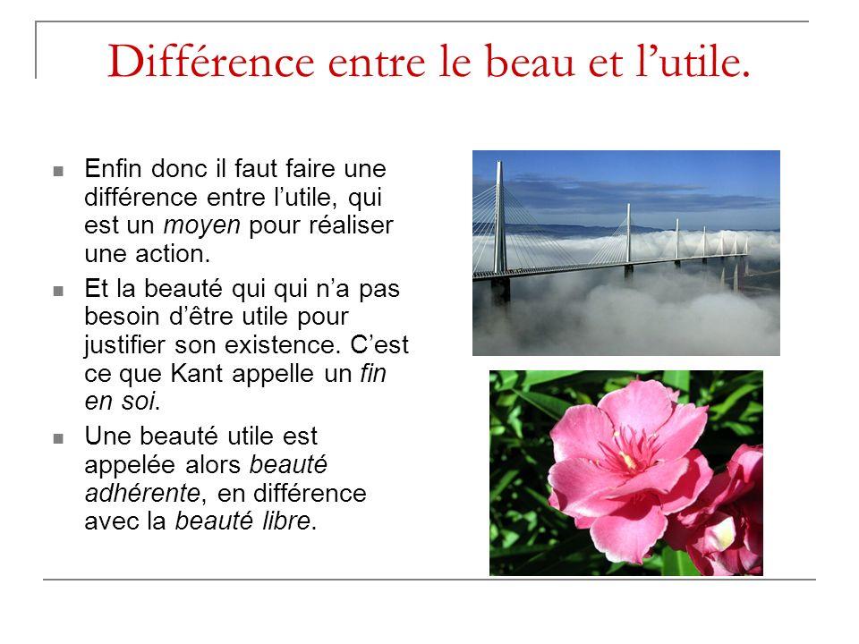 Différence entre le beau et l'utile.