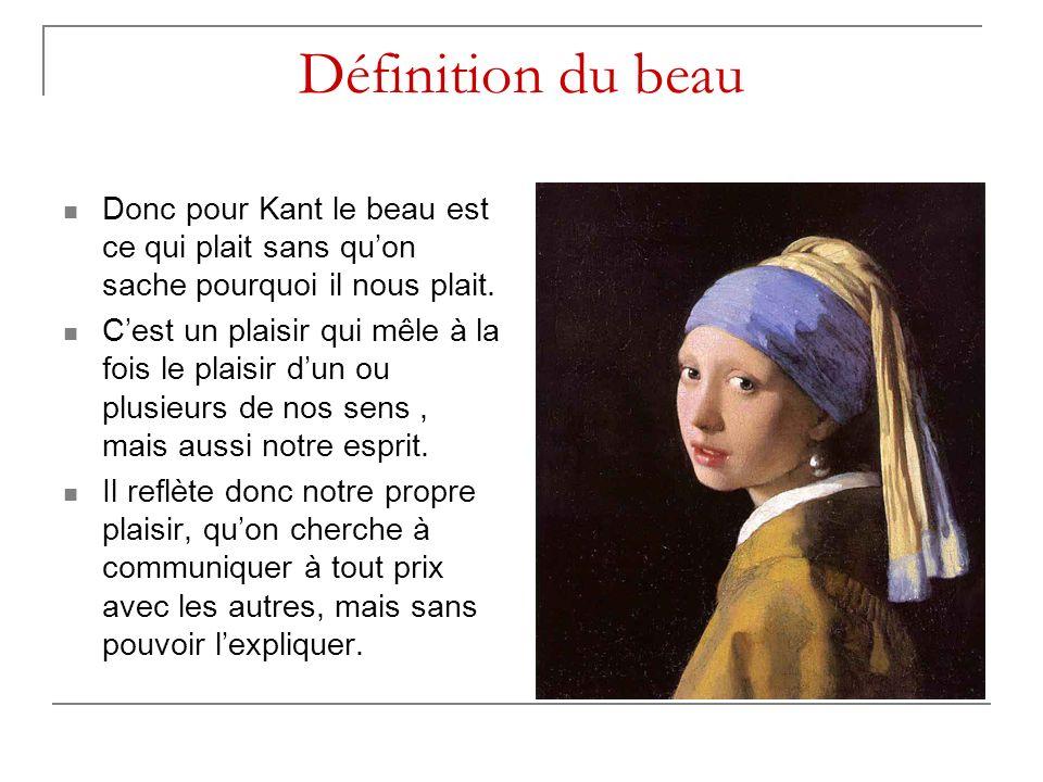 Définition du beau Donc pour Kant le beau est ce qui plait sans qu'on sache pourquoi il nous plait.