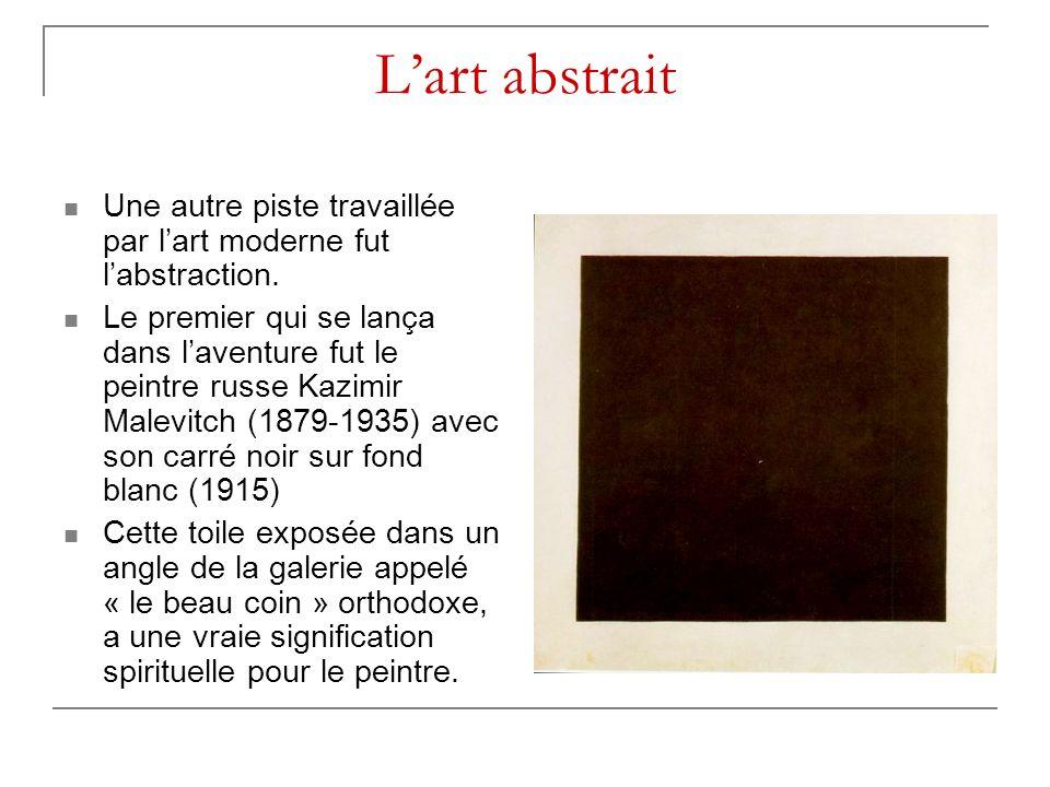 L'art abstrait Une autre piste travaillée par l'art moderne fut l'abstraction.