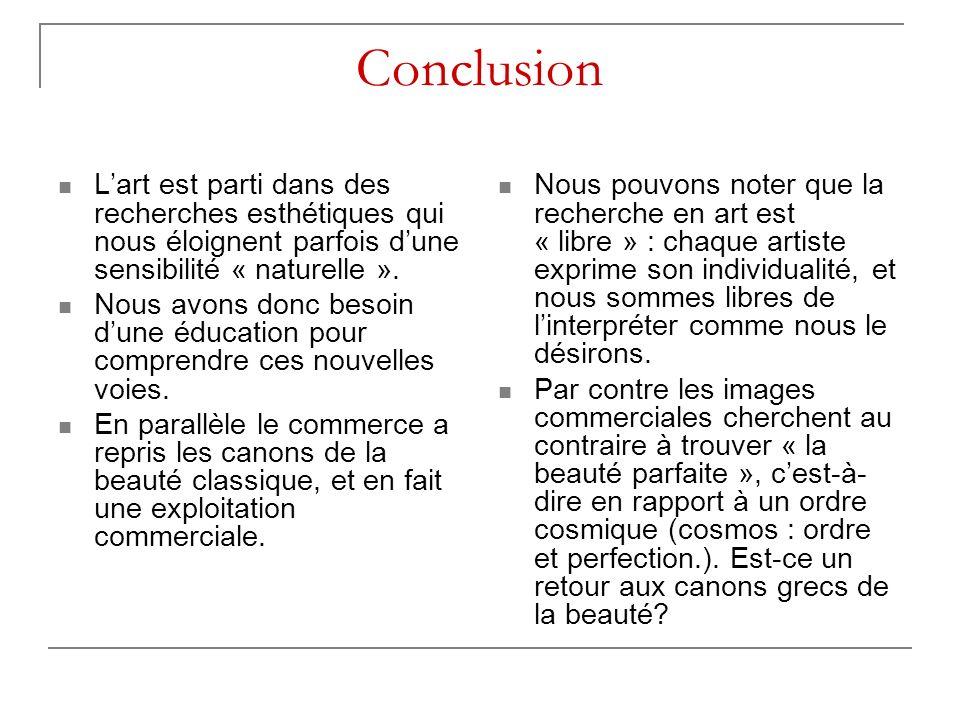 Conclusion L'art est parti dans des recherches esthétiques qui nous éloignent parfois d'une sensibilité « naturelle ».