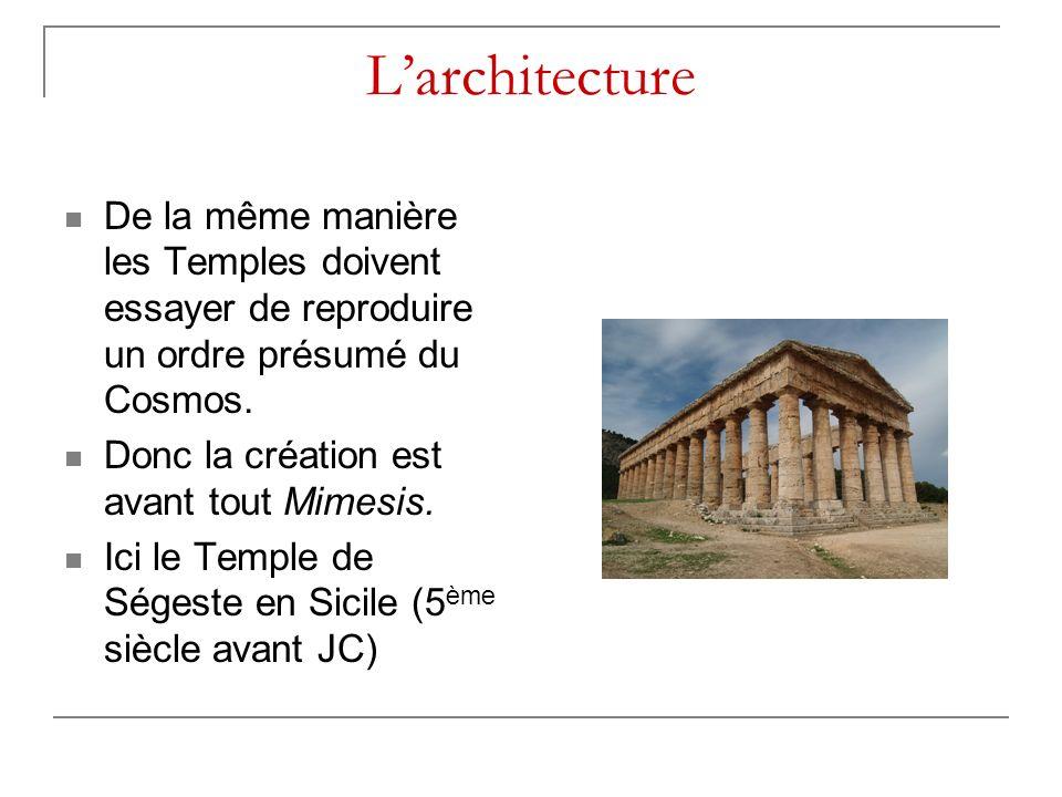 L'architecture De la même manière les Temples doivent essayer de reproduire un ordre présumé du Cosmos.
