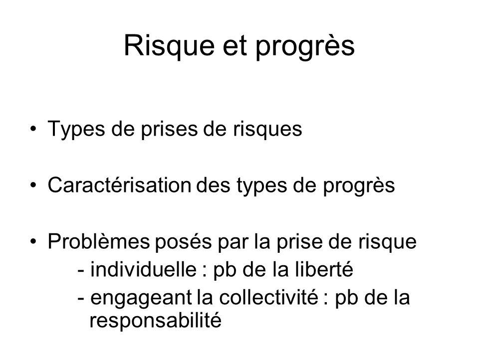 Risque et progrès Types de prises de risques