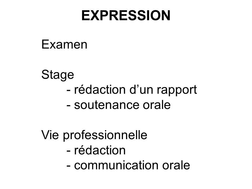 EXPRESSION Examen Stage - rédaction d'un rapport - soutenance orale
