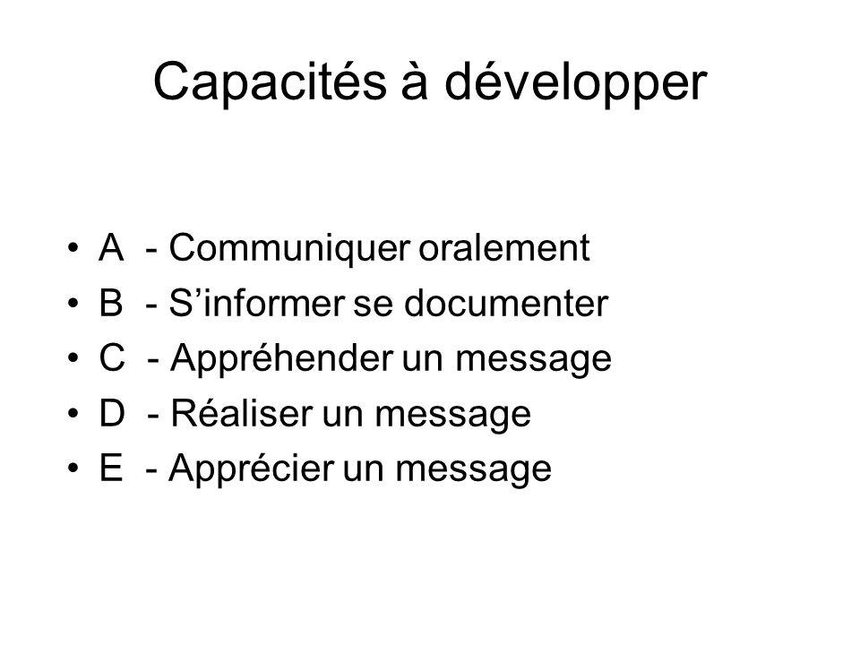 Capacités à développer