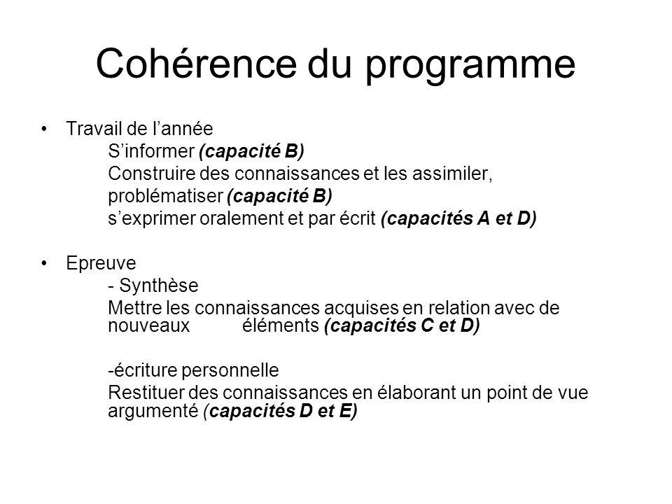 Cohérence du programme