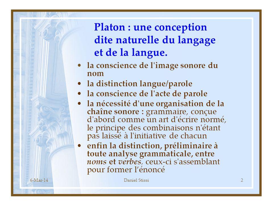 Platon : une conception dite naturelle du langage et de la langue.