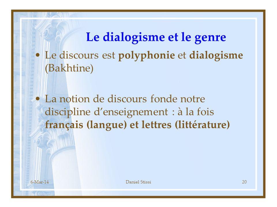 Le dialogisme et le genre
