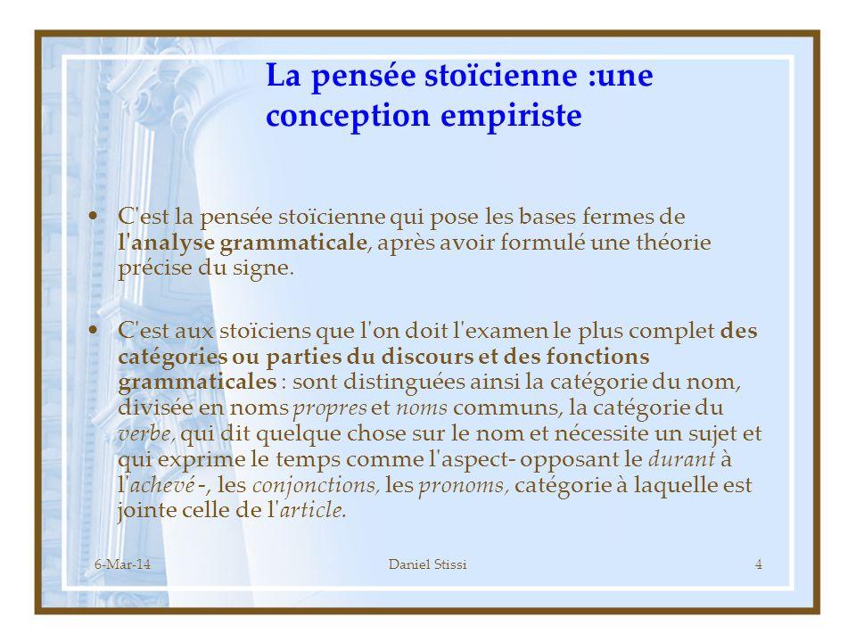 La pensée stoïcienne :une conception empiriste