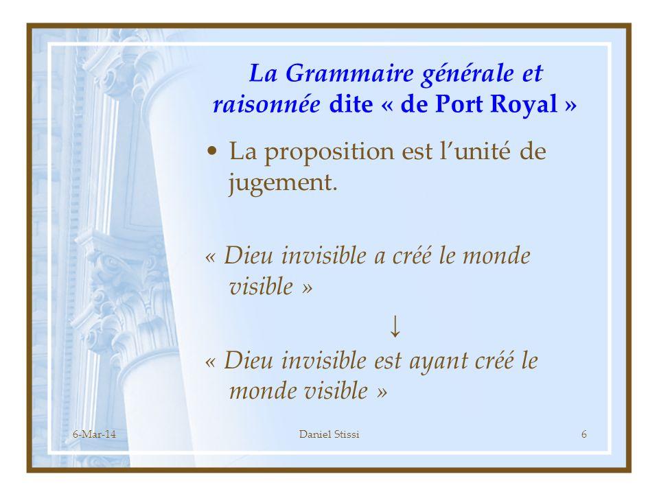 La Grammaire générale et raisonnée dite « de Port Royal »