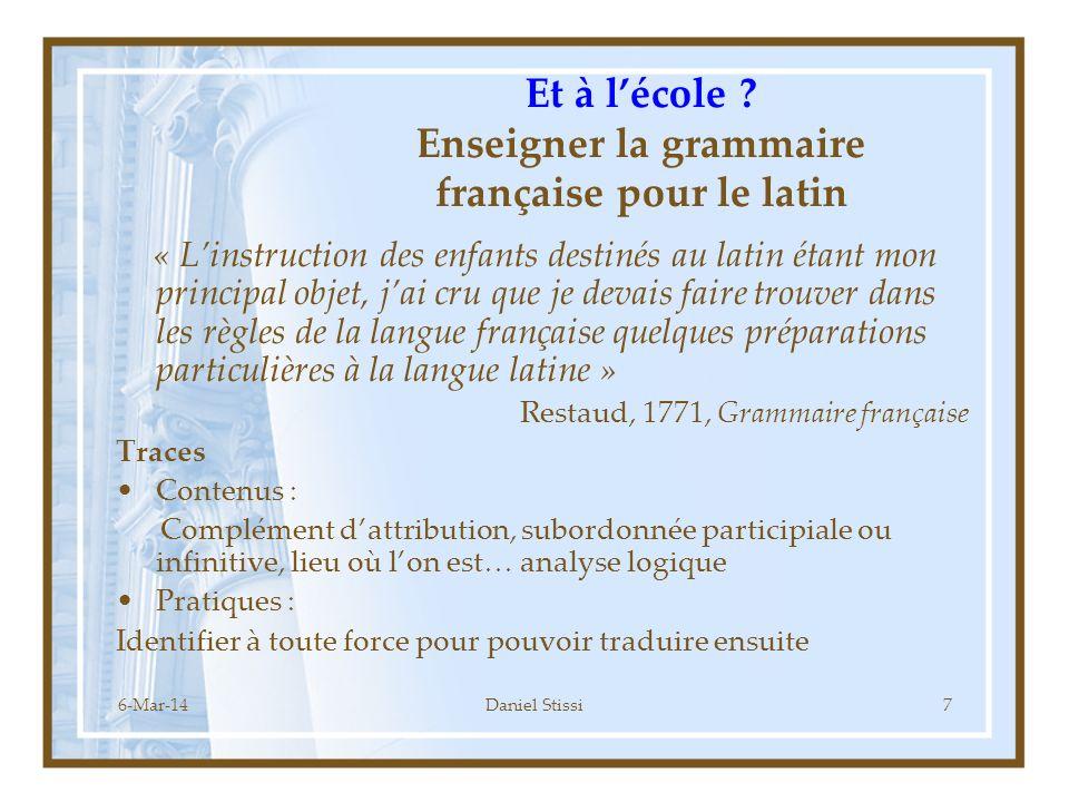 Et à l'école Enseigner la grammaire française pour le latin