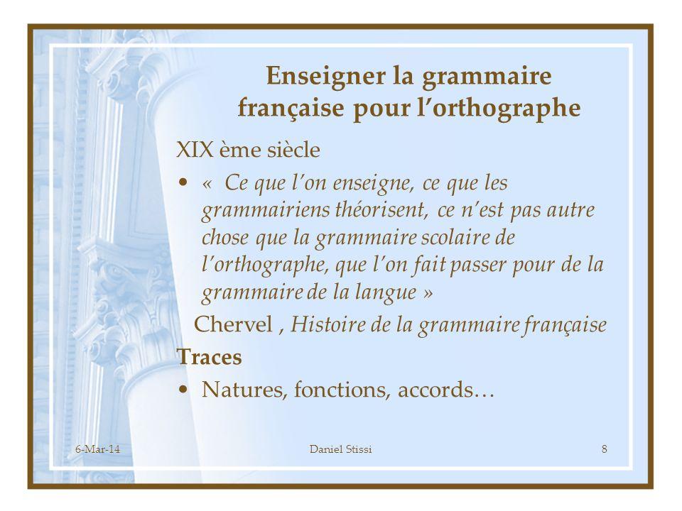 Enseigner la grammaire française pour l'orthographe