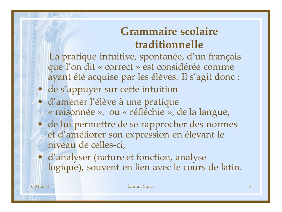 Grammaire scolaire traditionnelle