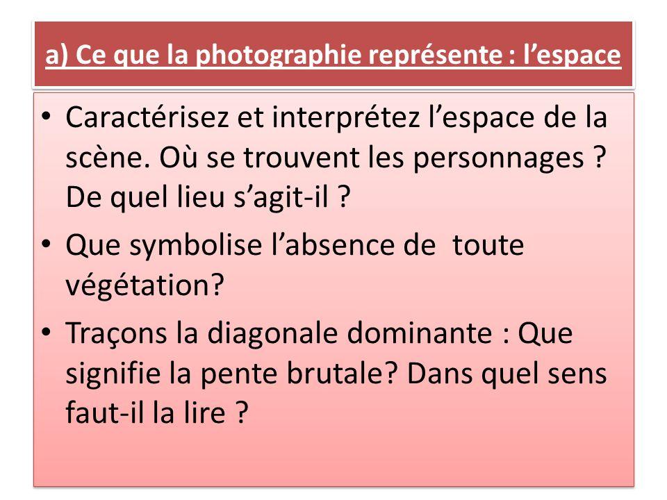 a) Ce que la photographie représente : l'espace