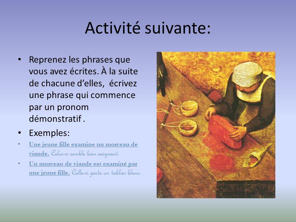 Activité suivante: