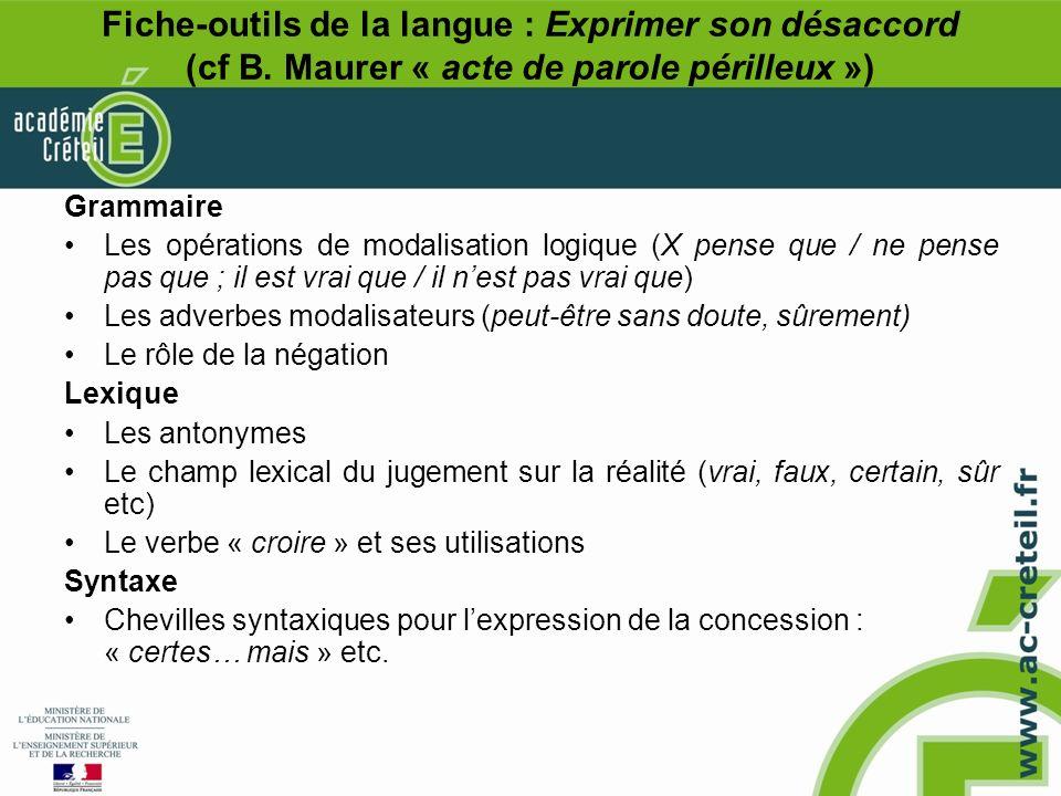 Fiche-outils de la langue : Exprimer son désaccord (cf B
