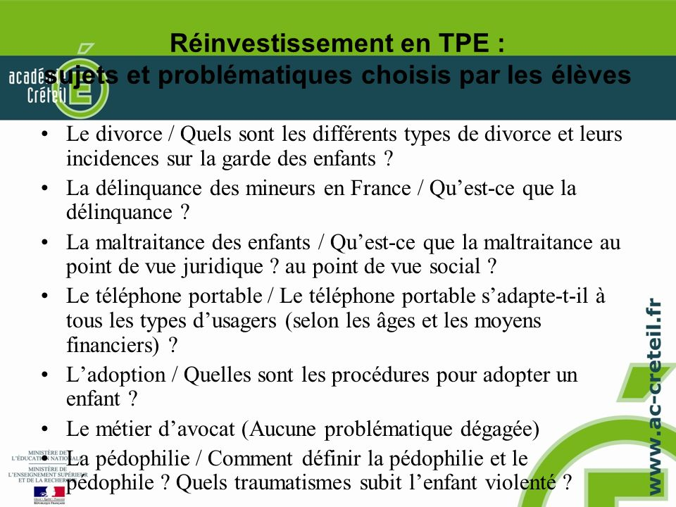 Réinvestissement en TPE : sujets et problématiques choisis par les élèves