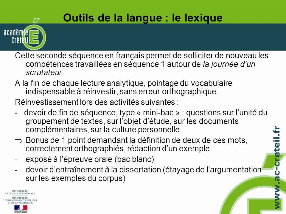Outils de la langue : le lexique
