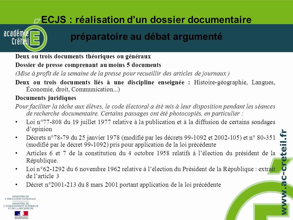 ECJS : réalisation d'un dossier documentaire préparatoire au débat argumenté