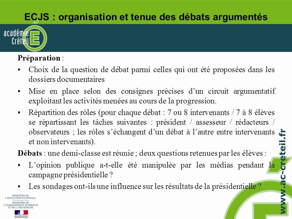 ECJS : organisation et tenue des débats argumentés