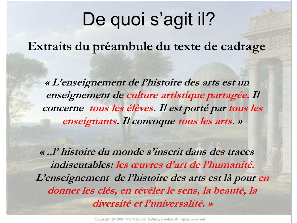 Extraits du préambule du texte de cadrage