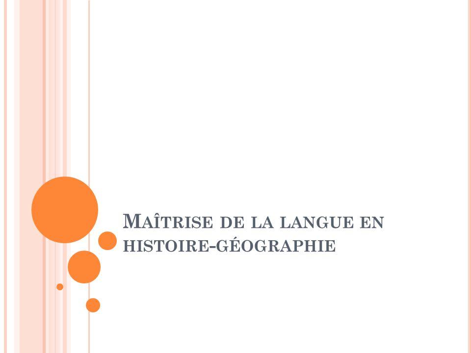 Maîtrise de la langue en histoire-géographie