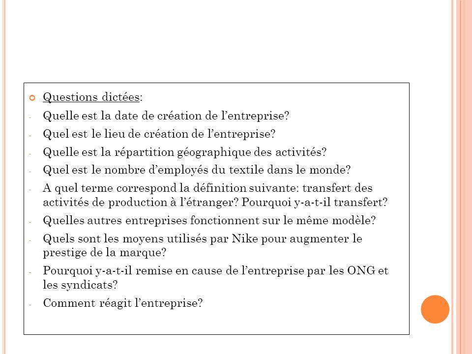 Questions dictées: Quelle est la date de création de l'entreprise Quel est le lieu de création de l'entreprise