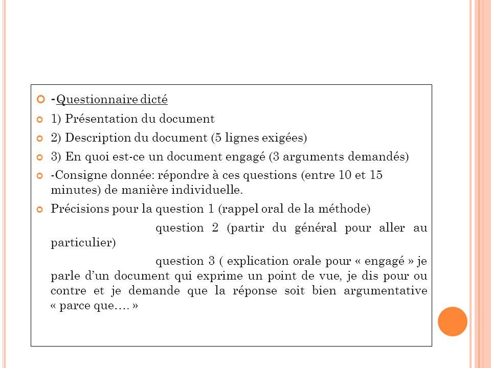-Questionnaire dicté 1) Présentation du document