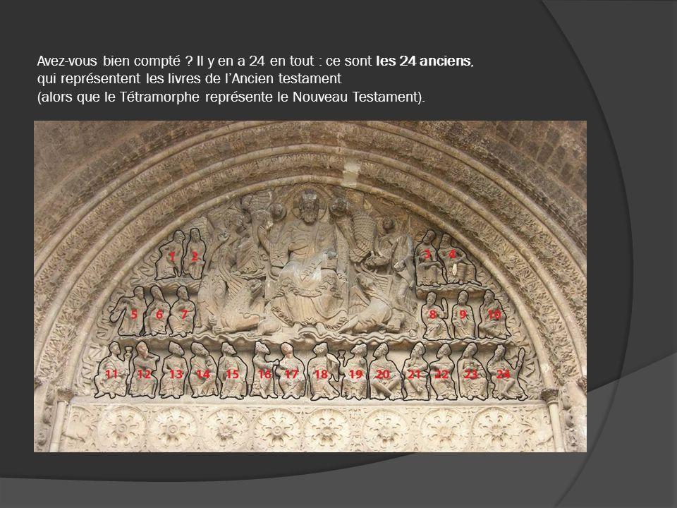 Avez-vous bien compté Il y en a 24 en tout : ce sont les 24 anciens, qui représentent les livres de l'Ancien testament (alors que le Tétramorphe représente le Nouveau Testament).