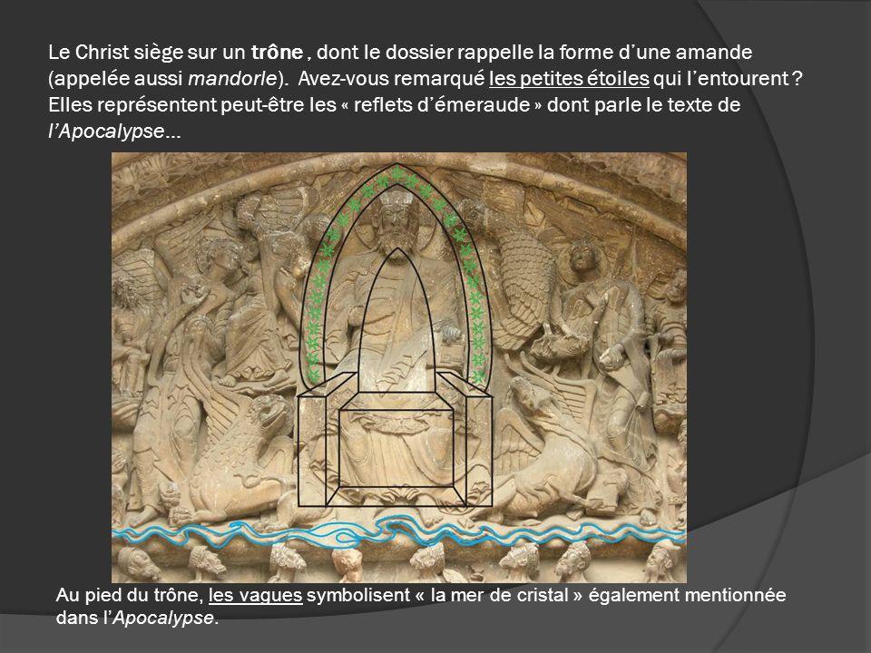 Le Christ siège sur un trône , dont le dossier rappelle la forme d'une amande (appelée aussi mandorle). Avez-vous remarqué les petites étoiles qui l'entourent Elles représentent peut-être les « reflets d'émeraude » dont parle le texte de l'Apocalypse…