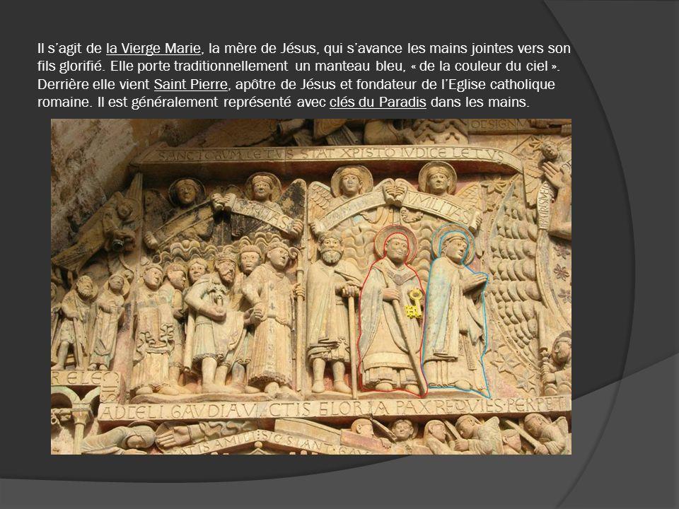 Il s'agit de la Vierge Marie, la mère de Jésus, qui s'avance les mains jointes vers son fils glorifié. Elle porte traditionnellement un manteau bleu, « de la couleur du ciel ». Derrière elle vient Saint Pierre, apôtre de Jésus et fondateur de l'Eglise catholique romaine. Il est généralement représenté avec clés du Paradis dans les mains.