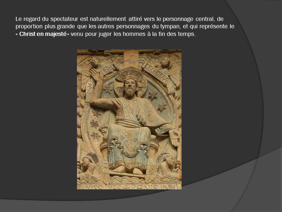 Le regard du spectateur est naturellement attiré vers le personnage central, de proportion plus grande que les autres personnages du tympan, et qui représente le « Christ en majesté » venu pour juger les hommes à la fin des temps.