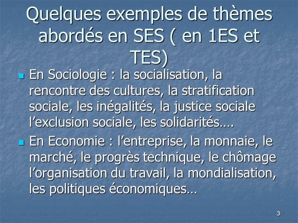 Quelques exemples de thèmes abordés en SES ( en 1ES et TES)